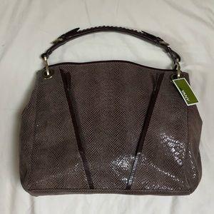 OrYANY Brown Snakeskin Leather Hobo Tote Bag
